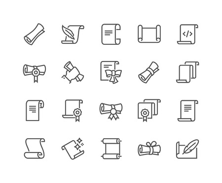 Line Scrolls and Papers Icons Vettoriali