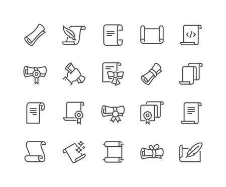 Icônes de défilement de ligne et de papiers