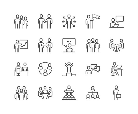 Lijn Bedrijfsmensen Pictogrammen