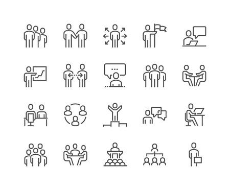 Linia ikon ludzi biznesu