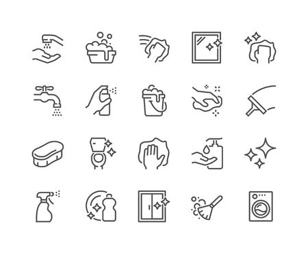 Iconos de limpieza de línea Ilustración de vector