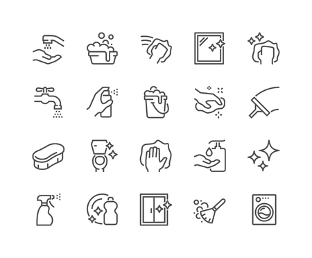 Line Cleaning Icons Archivio Fotografico - 101965707