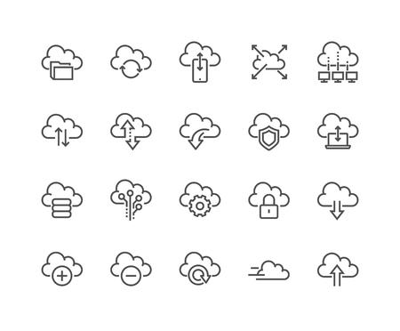 Lijn Computer Cloud Pictogrammen Vector Illustratie