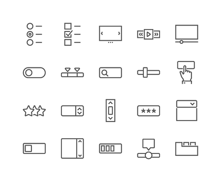 Line UI Elements Icons