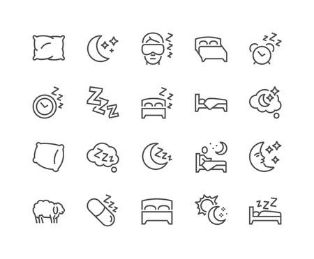 Line Sleep Icons Ilustração