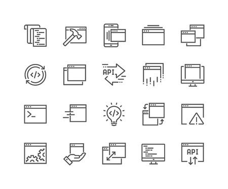 Conjunto simple de iconos de línea de vectores relacionados con la aplicación. Contiene iconos como compilación, API, terminal, listado de código y más. Trazo editable. 48x48 píxeles perfectos.