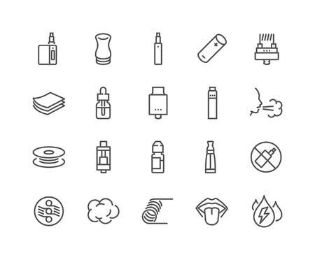 Line Vape Icons Stock Illustratie