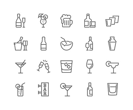 Line Alcohol Icons 向量圖像