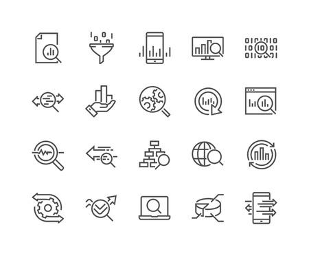 Icônes d'analyse des données de ligne