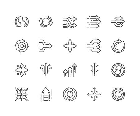 Icone di transizione astratta di linea Vettoriali