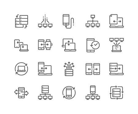 Iconos de intercambio de datos de línea Ilustración de vector