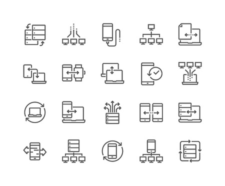 Line Data Exchange Icons Ilustracja
