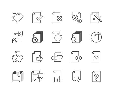 Icone di gestione del flusso di documenti di linea Vettoriali