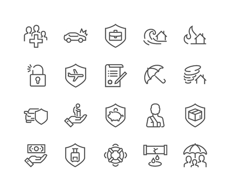 Line Insurance Icons Vettoriali