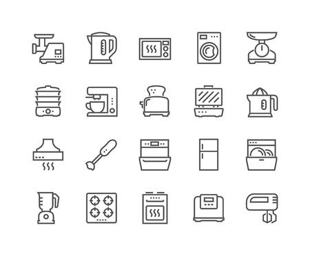 Iconos de electrodomésticos de cocina de línea Ilustración de vector