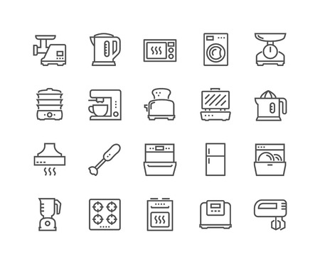 Line Kitchen Appliances Icons Standard-Bild - 102747495