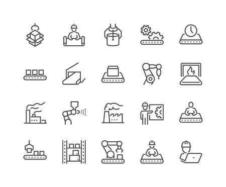 Lijn massaproductie pictogrammen