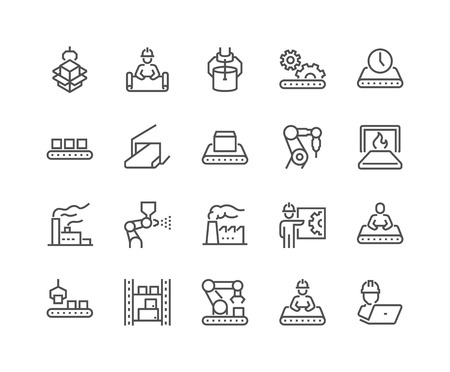 Line Mass Production Icons Vettoriali