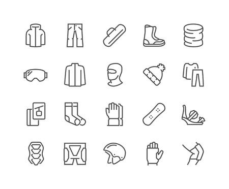 Line Snowboarding Icons