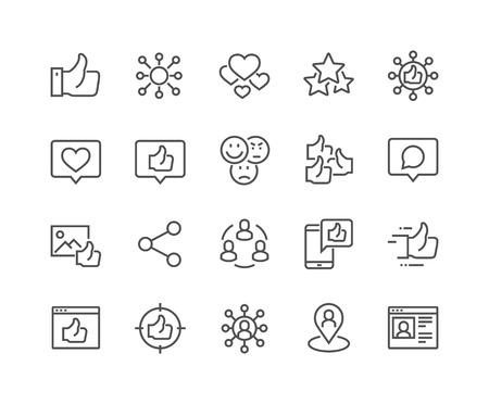 Line Social Networks Icons Ilustração