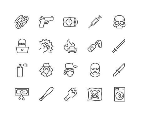 Line Crime Icons Stock Photo