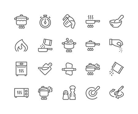 Lijn koken pictogrammen