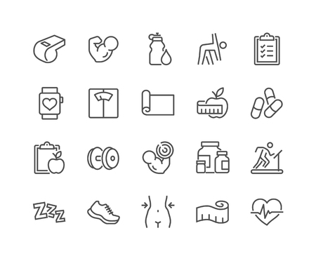 Line Fitness Icons Banque d'images