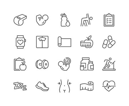 Line Fitness Icons Stockfoto