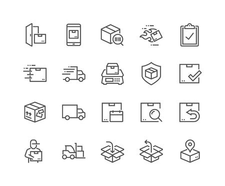 Lijn verzending pictogrammen