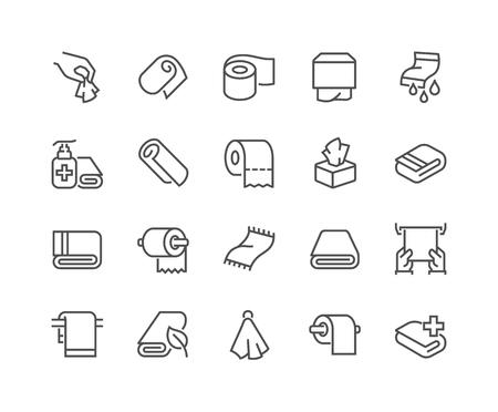 Lijn Handdoeken en Servetten Pictogrammen Vector Illustratie
