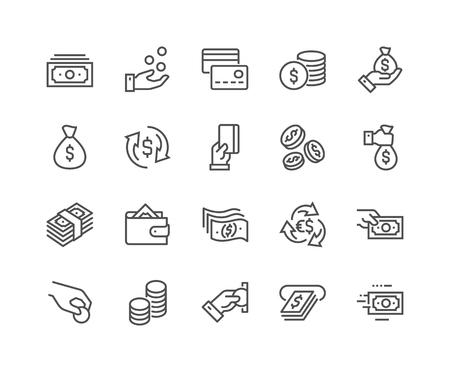 Lijn geld pictogrammen Vector Illustratie