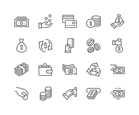 Liniengeld-Symbole Vektorgrafik