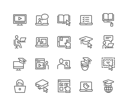 Line Online Education Icons Illustration