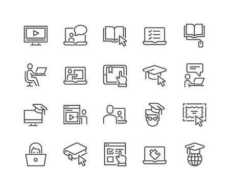 Lijn online onderwijs pictogrammen