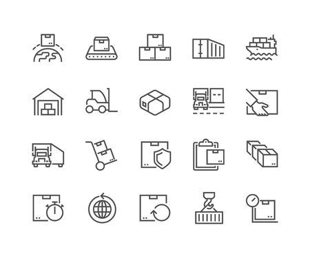 Line Package Delivery Icons 일러스트