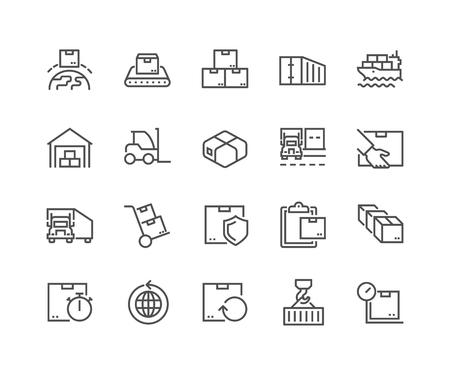 Lijn pakket levering pictogrammen