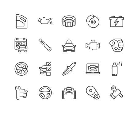 Line Car Service Icons Vector Illustration