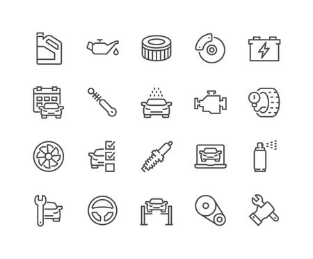 Line Car Service Icons Illustration