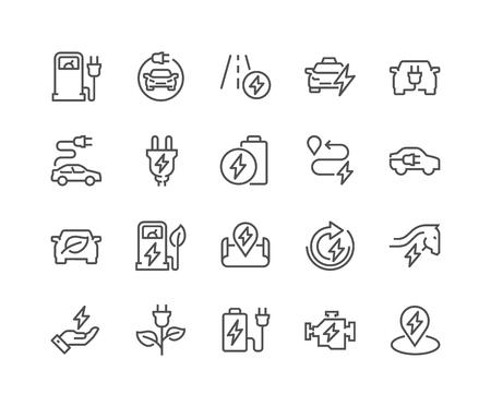 Line Electro Car Icons