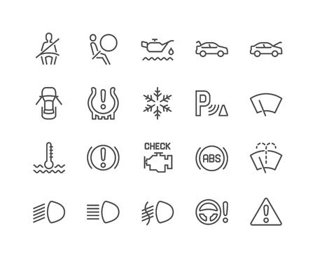 Icônes de tableau de bord de voiture de ligne