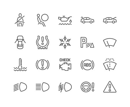 Line Car Dashboard Icons