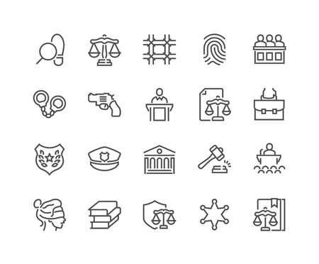 Line Law and Justice Icons 免版税图像 - 105058670