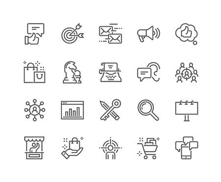 Lijn Marketing Pictogrammen Vector Illustratie