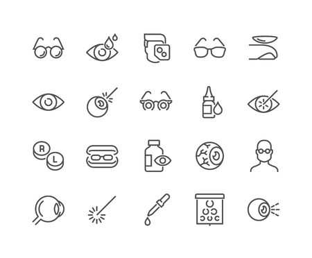 Line Optometry Icons 일러스트