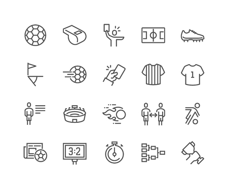 Line Soccer Icons Illustration