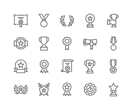 Line Awards Icons Illustration