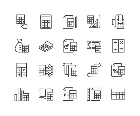 Line Calculation Icons Illustration