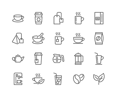 Lijn koffie en thee pictogrammen