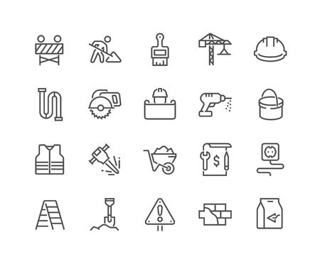 Line Construction Icons Ilustração