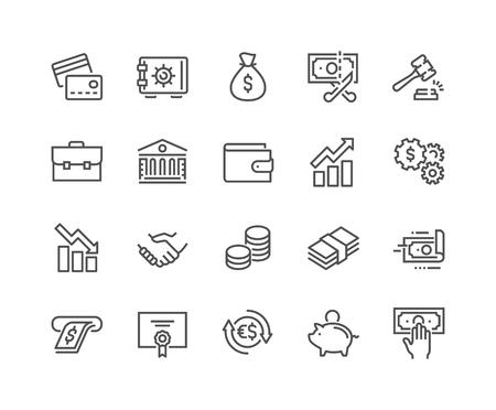 Iconos de finanzas de línea